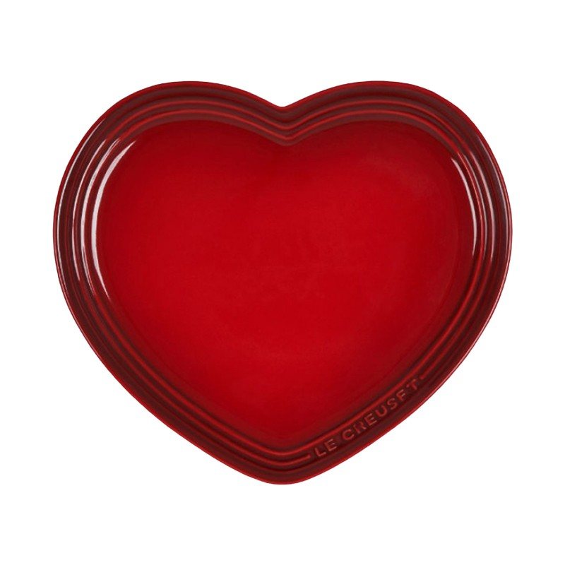 LE CREUSET HEART PLATE WITH LC LOGO - CERISE - LARGE
